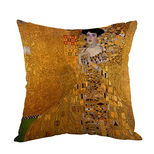 Moslion Gustav Klimts The Lady In Gold Pillow,Home Decor Throw Pillow Cover Cotton Linen Cushion for Couch/Sofa/Bedroom/Livingroom/Kitchen/Car 18 x 18 inch Square Pillow case