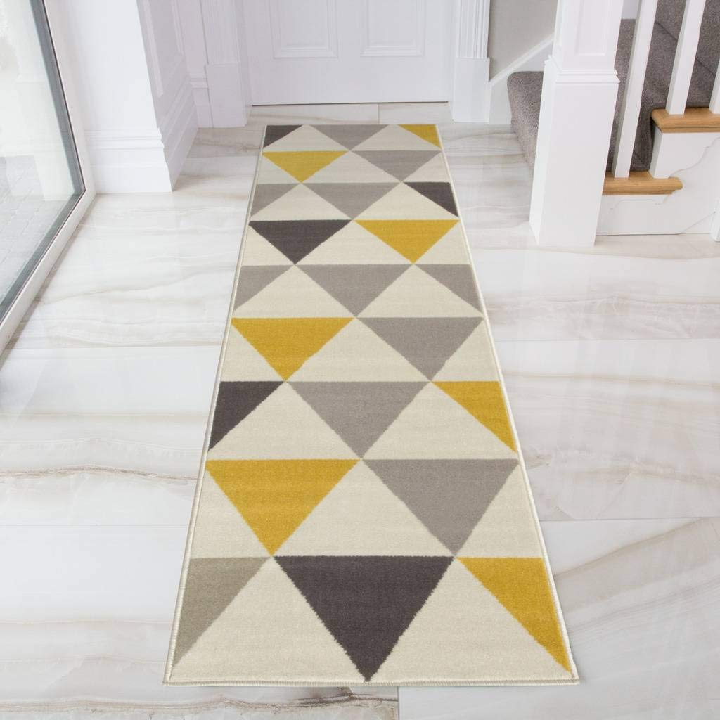 The Rug House Milan Tappeto con motivo a Triangoli Arlecchino nei colori Ocra Giallo Mostarda Grigio Beige per Salotto Tradizionale 60cm x 240cm RR 2517-NG44 (60x240) 4284