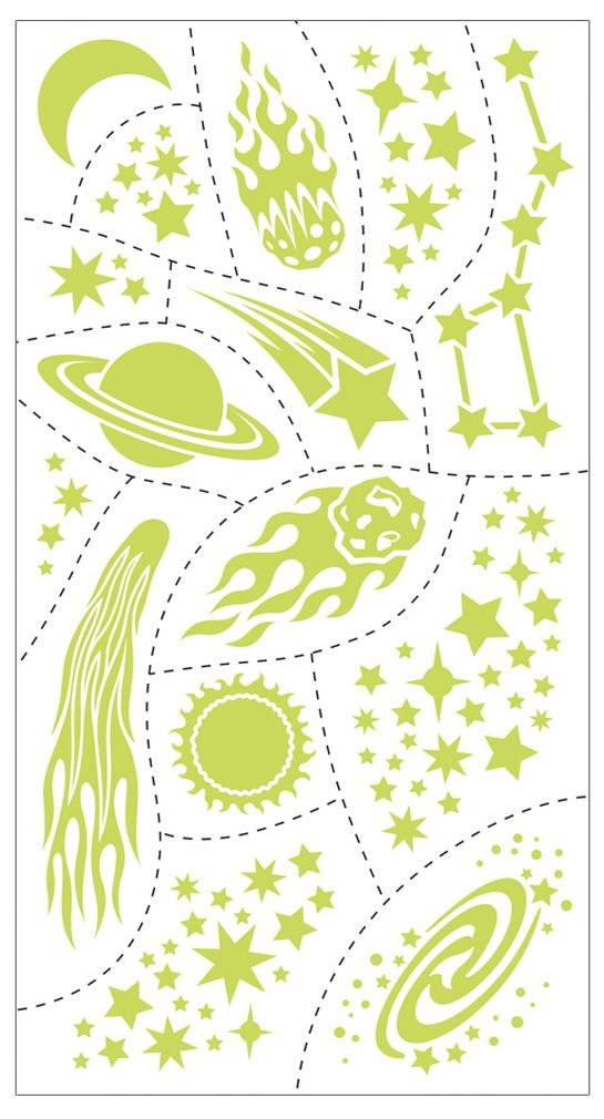 Peaceable Kingdom Jean Tats Glow in The Dark Outer Space Temporary Tattoos for Fabric Mindware