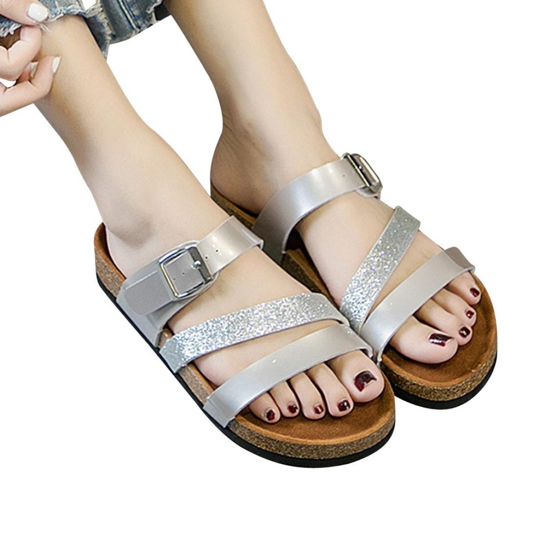 vermers Hot Sale Womens Beach Sandals - Cross Toe Strap Flat Shoes Thick-Soled Cork Sequin Slippers(US:9, Silver) by vermers