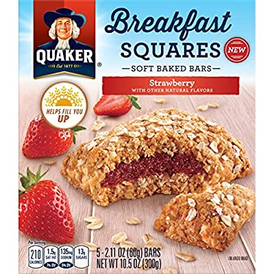 Quaker Breakfast Squares, Soft Baked Bars, Strawberry, 5 Count