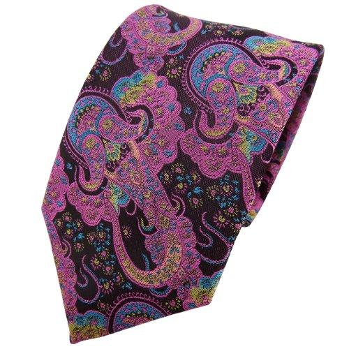 TigerTie cravate lila rosé turquoise Paisley -Tie