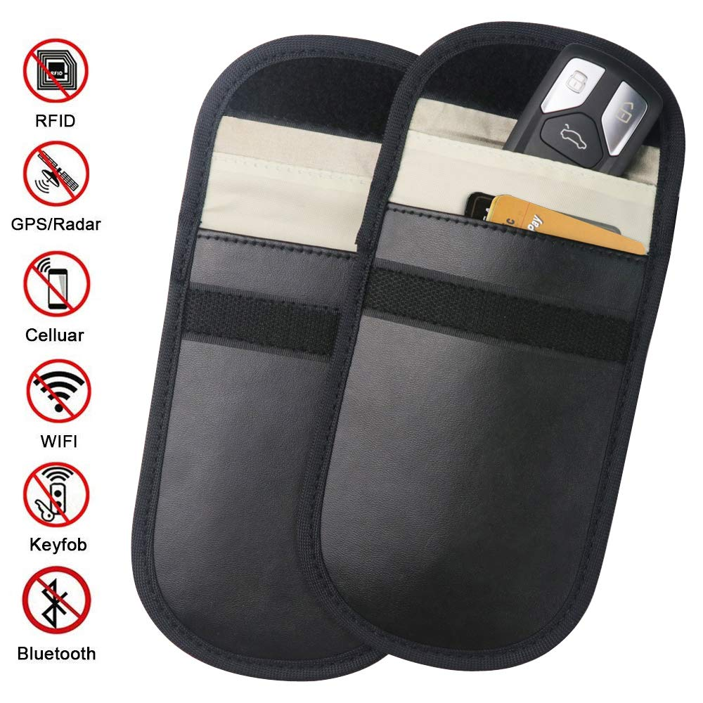 Car Key Signal Blocker Case - 2 Pack Faraday Cage Shield Car Key Fob Signal Blocking Pouch Bag Keyless Entry Fob Guard Pouch Bag, Antitheft Lock Devices Car Key Protector WiFi/GSM/LTE/NFC/RF Blocker ZATAYE B07GP2DMNX