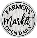 Farmers Market Open Daily Farmhouse Rustic Metal Sign Circular - 11.75""