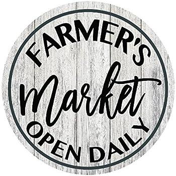 "Farmers Market Open Daily Farmhouse Rustic Metal Sign Circular - 11.75"""