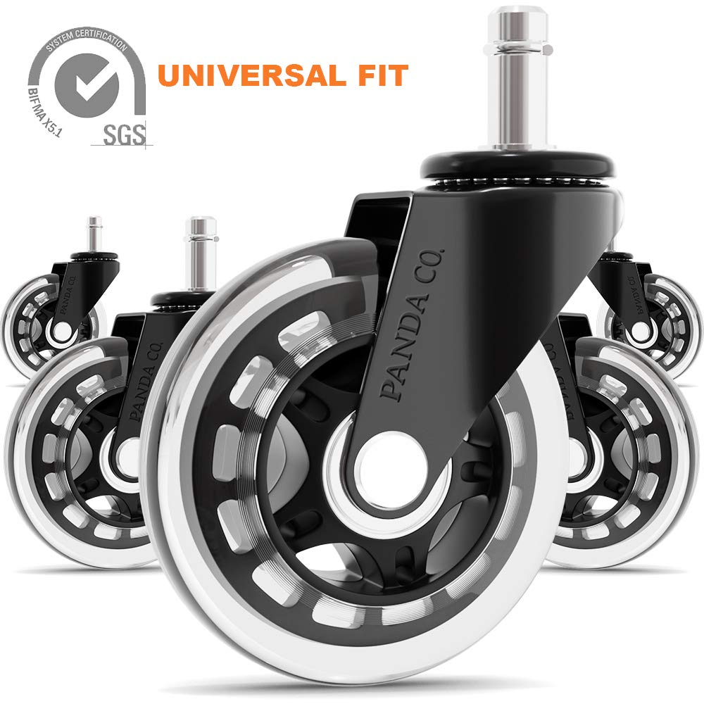 Panda Co. Office Chair Wheels - Set of 5 - Universal Fit Rollerblade 3 Inch Casters, Heavy Duty, Quiet and Safe for All Floors Including Hardwood, Replacement for Chair Mat by PANDA CO. OFFICE