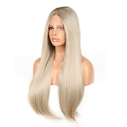 belleet recto Natural Platinum Blonde sintético Lace Front ...