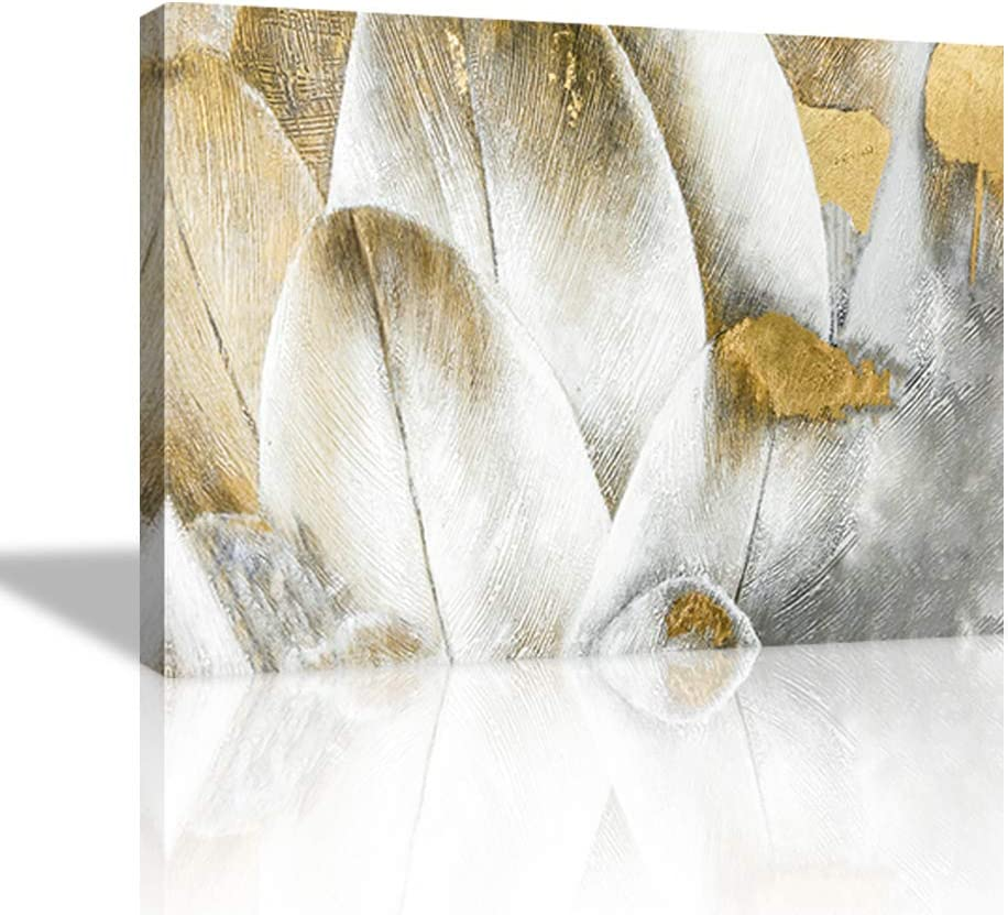 Abstract Wall Art Gold Dream Feather Wall Decor Feather Painting Grey White Art Feather Poster Artwork Abstract Canvas Print Home Decor for Living Room Bedroom Framed Ready to Hang