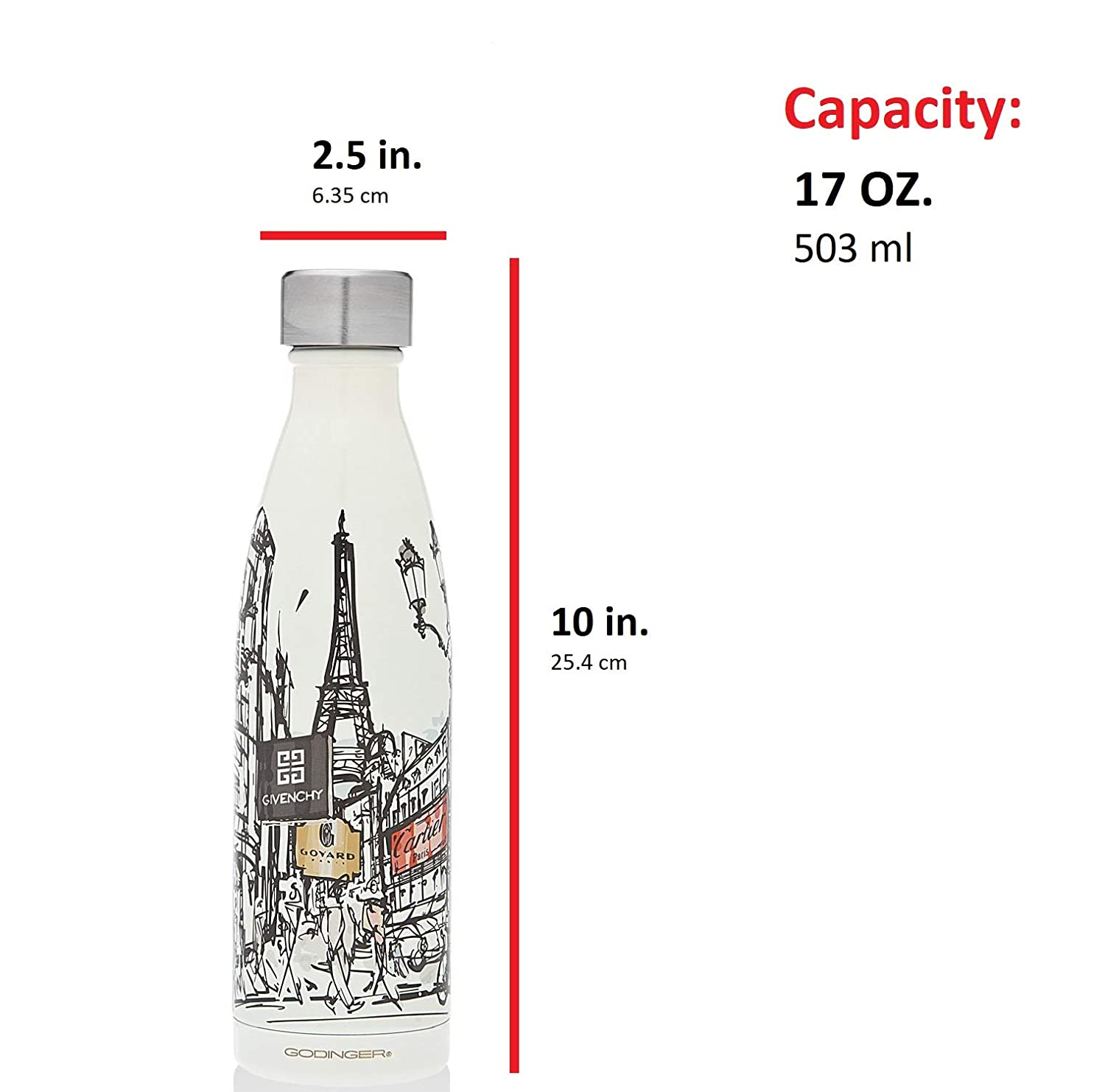 Double Walled to Keep Your Drinks hot or Cold Perfect for Travel 17 oz. Godinger Insulated Stainless-Steel Water Bottle Leak-Proof
