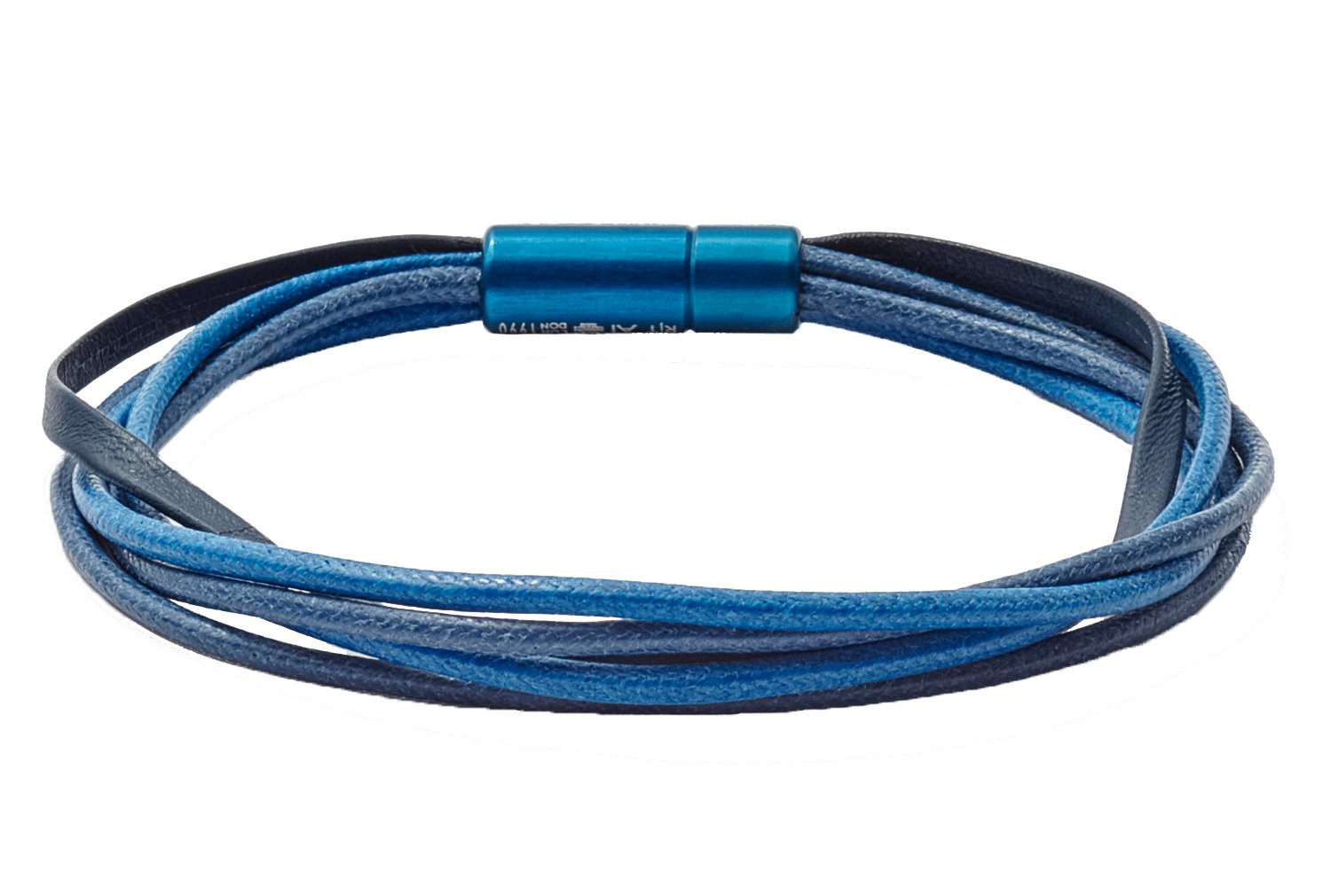 Tateossian RT Italian Leather and Wax Corded Bracelet - Blue, Large 19.5cm