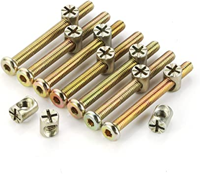 M6 x 65mm Zinc Plated Hex Drive Socket Cap Furniture Bolts with Barrel Nuts for Furniture Cots Beds Crib and Chairs 15 Pairs