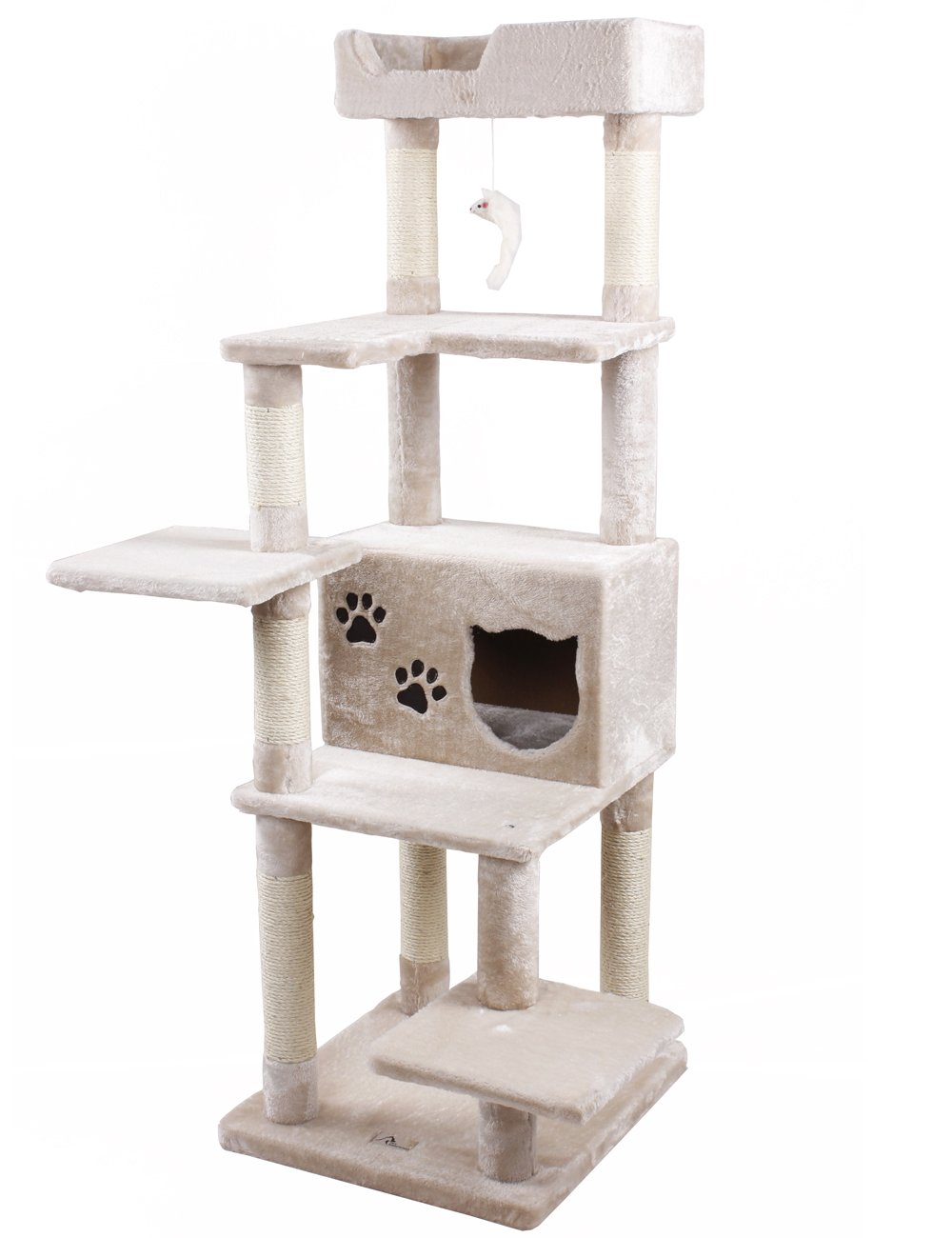 PET SHINEWINGS Multi-Level Double Base Cat Activity Tree Condo Tower House