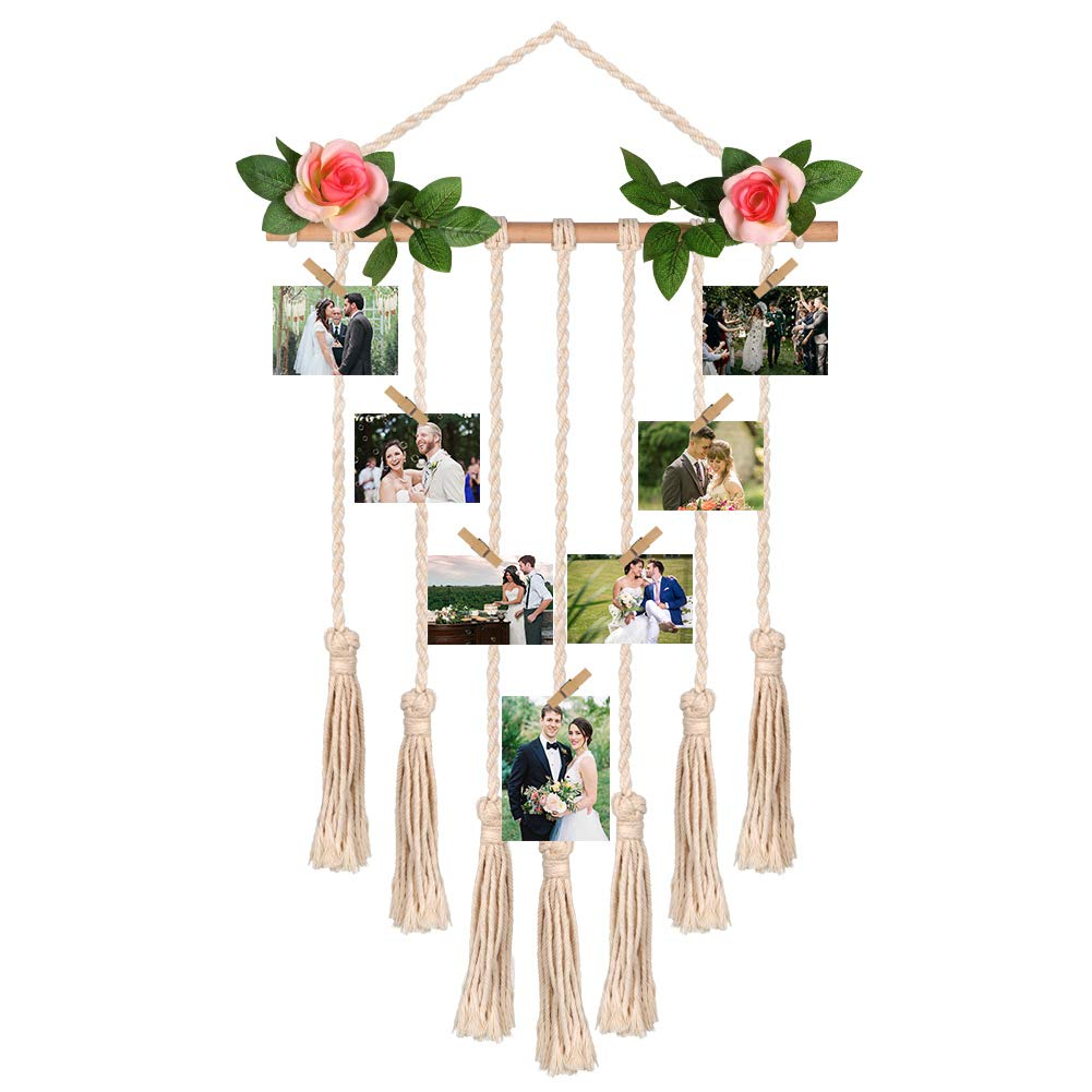 Aparty4u Hanging Photo Display with 50 Wood Clips and Flowers Macrame Wall Hanging Picture Organizer Boho Decor for Home, Living Room Bedroom Wedding