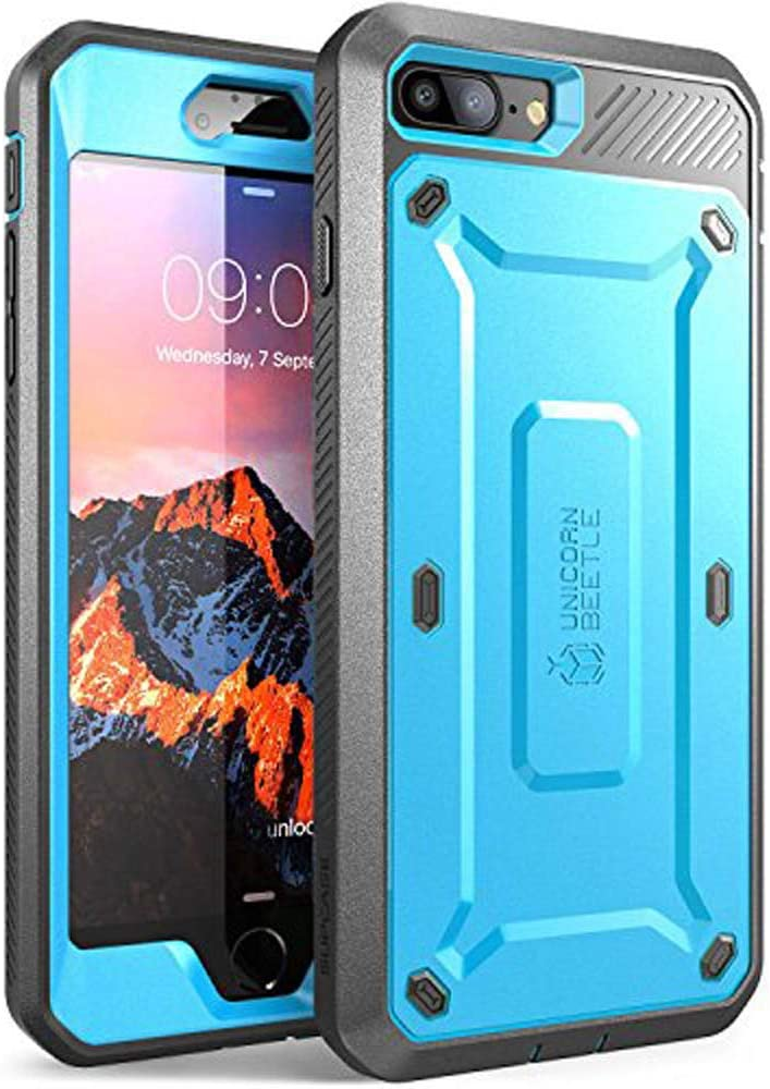 SUPCASE Unicorn Beetle Pro Series Case Designed for iPhone 7 Plus, iPhone 8 Plus Case, with Built-in Screen Protector Full-Body Rugged Holster Case for iPhone 7 Plus/iPhone 8 Plus (Blue)
