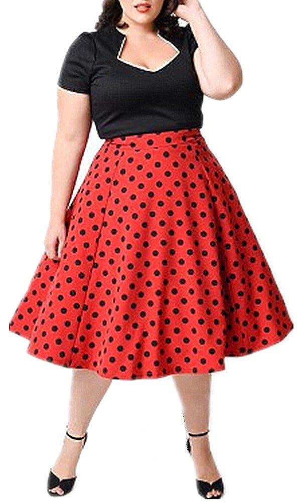 BY& M Women's Plus Size 1950'S Vintage V Neck Polka Dot Knee Length Dress 1216