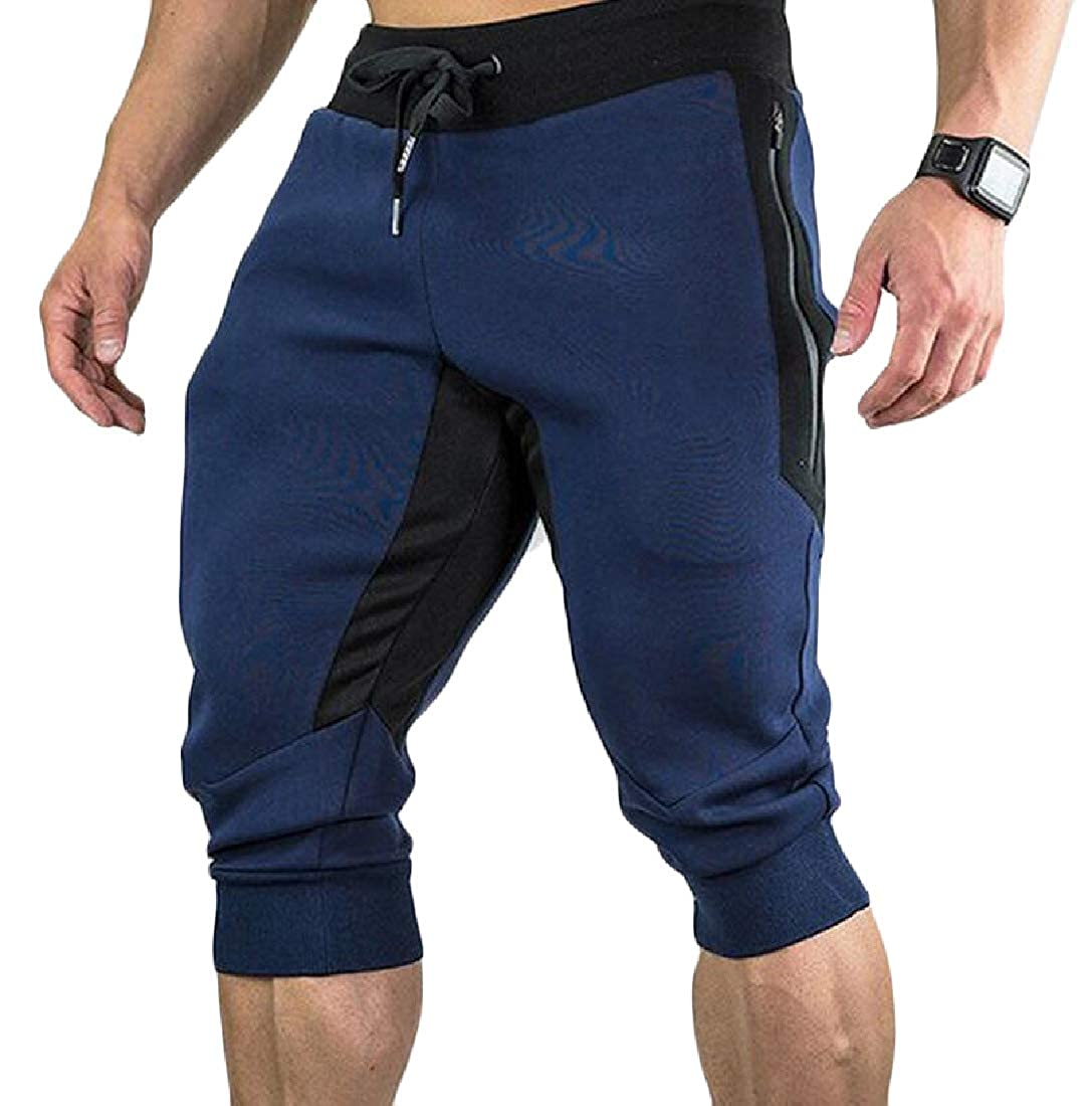 Sweatwater Mens Elastic Waist Bodybuilding Contrast Color Sport Casual Capri Pants