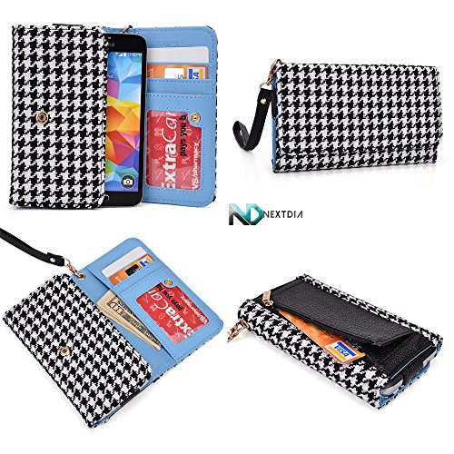 smartphone-wallet-wristlet-for-samsung-galaxy-s5-sport-houndstooth-pattern-black-white-with-credit-c