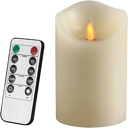 AIR ZUKER Flameless Candles Battery Operated Pillar LED Candle, Real Wax Dancing Flame Motion Candle with Timer and 10-Key Remote, Use AAA Batteries not-Included , 3.25 X 5-Inch, Ivory