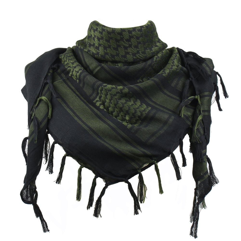Explore Land 100% Cotton Shemagh Tactical Desert Scarf Wrap (Black and Green)