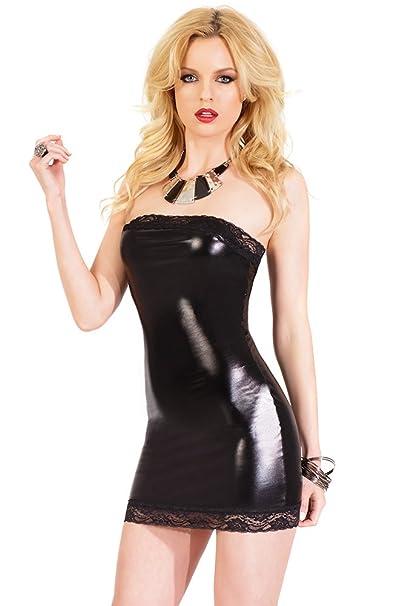 Darque womens sexy black rubber look mini skirt