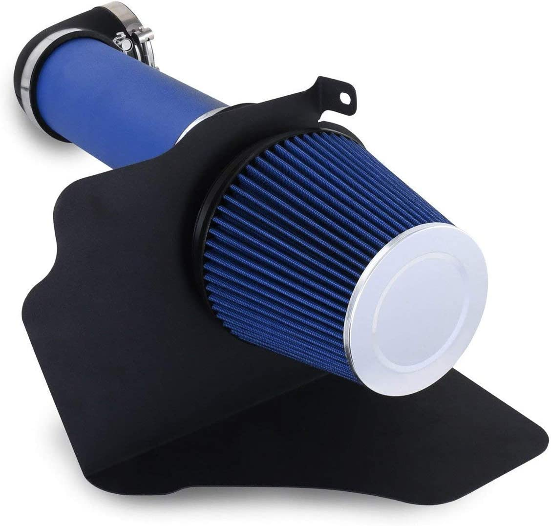 4 Inch Aluminum High Flow Air Intake Kit Blue Heat Shield Pipe with Filter For Challenger//300 C Sedan//Charger//Magnum R//T /& SRT-8 Hemi 5.7L 6.1L V8 Engine Only