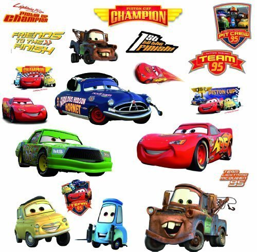 Car Graphic Wall - RoomMates Disney Pixar Cars - Piston Cup Champs Peel and Stick Wall Decal