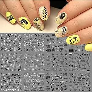 12 diseños de letras rusas pegatinas de uñas de agua Sexy ...