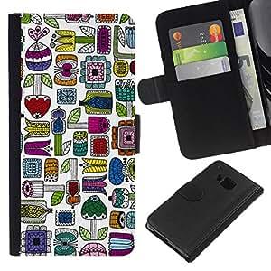 KLONGSHOP // Tirón de la caja Cartera de cuero con ranuras para tarjetas - Hand Drawn minimalista colorido - HTC One M9 //