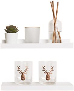 Hot Haus Decor Wall Shelves - Set of 2 White Floating Shelves - 12.75