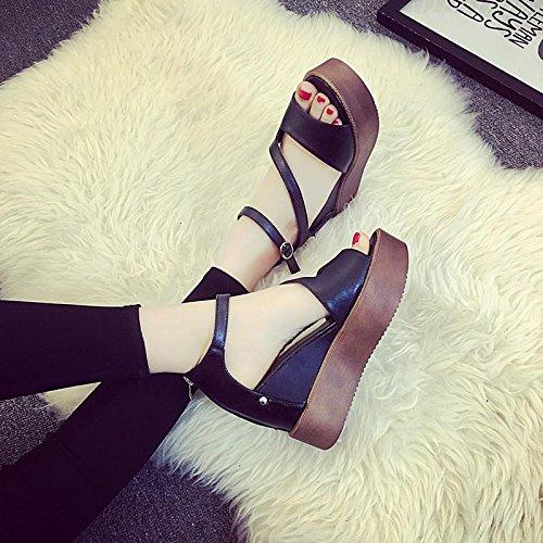 épaisse LvYuan bas Confort Black d'été plates Sandales cale Peep pour chaussures en Hollow Bottines femmes toe Décontracté 1qOF4H1w