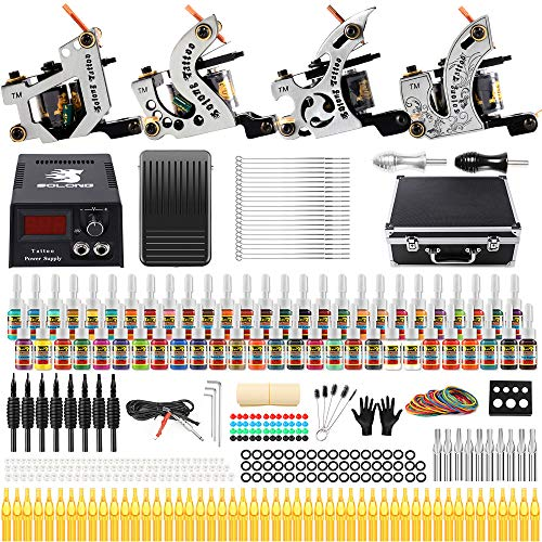 - Solong Tattoo Complete Starter Beginner Tattoo Kit 4 Pro Machine Guns 54 Inks Power Supply Foot Pedal Needles Grips Tips TK459