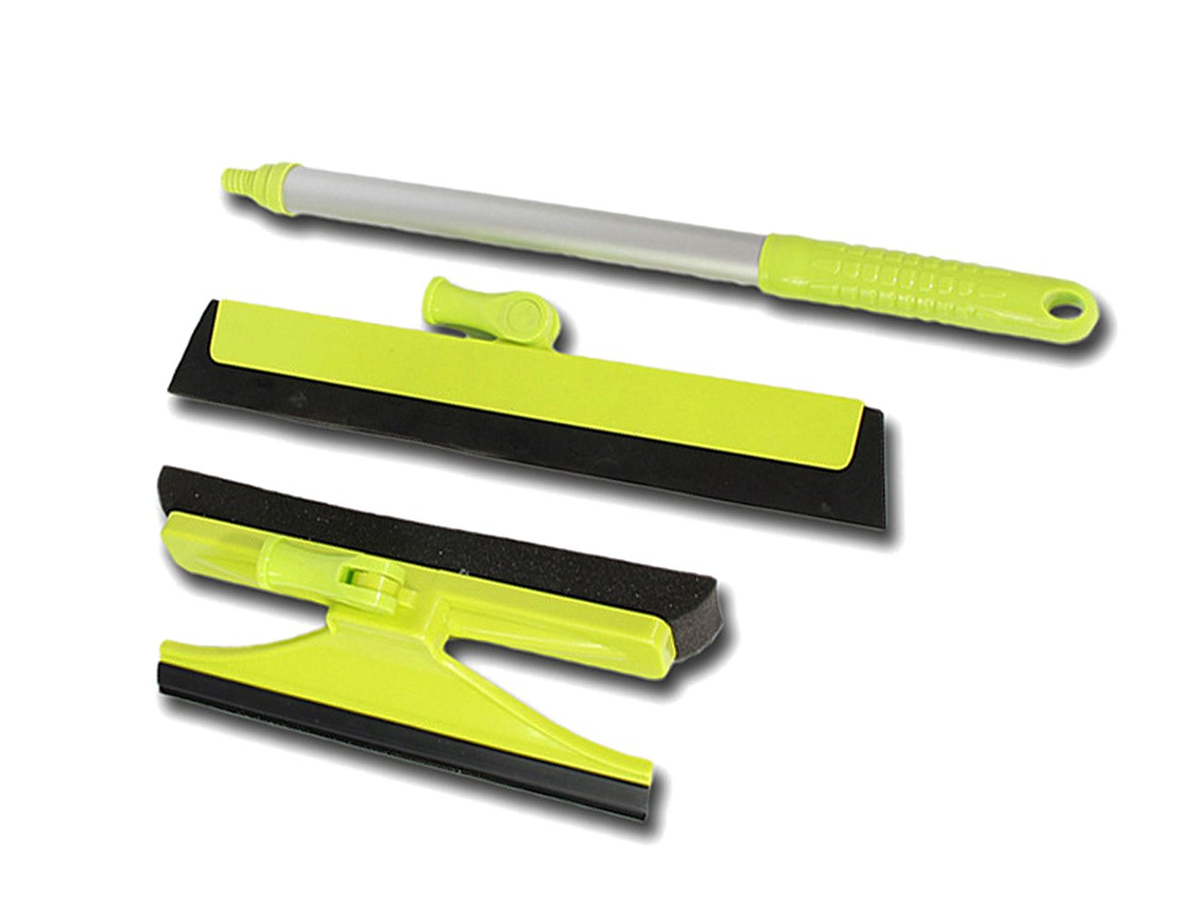 SEVICAT Retractable Glass Cleaning Squeegee Extendable Handle Window Cleaner with Full-Sterring Head and Double-side Brushes for All Kinds of Glass Marble Wood