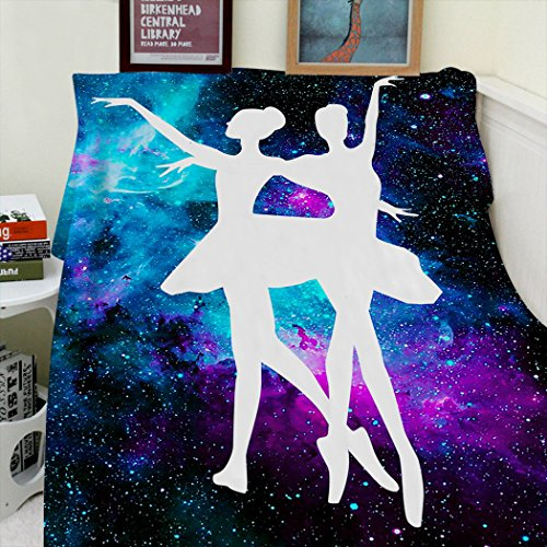 Blanket Sofa Bed Throw Lightweight Cozy Plush Ballet Beauty Dance Purple Galaxy Nebula 50''x80'' by SXCHEN (Image #1)