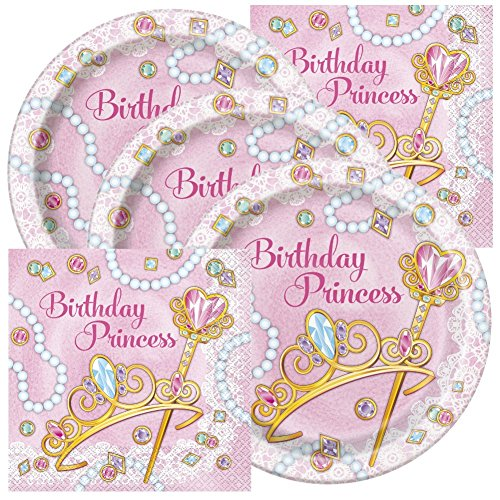 Princess Themed Birthday Party Plates and Napkins (Serves 32) -