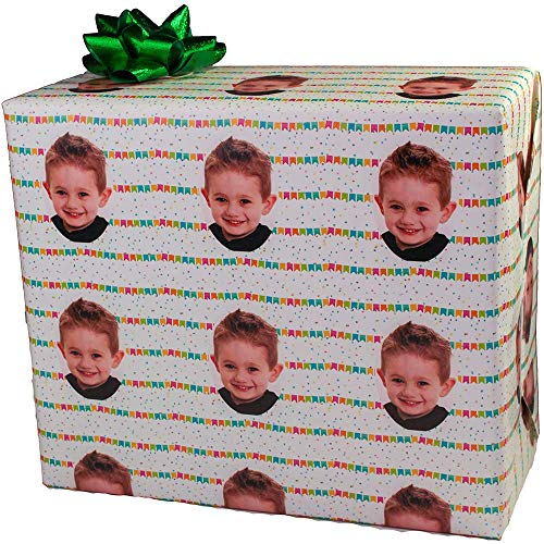 Birthday Custom Gift Wrap | Personalized Photo Gift Wrapping Paper (6 Foot Roll, Confetti Party)
