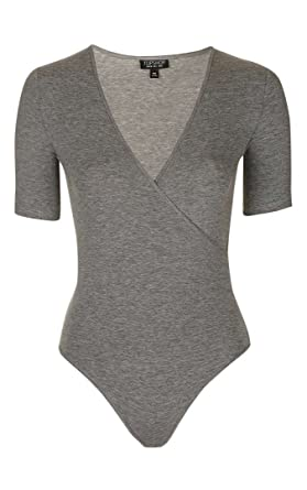 3441782c3d Topshop Grey Wrap Front Bodysuit/Top (6): Amazon.co.uk: Clothing