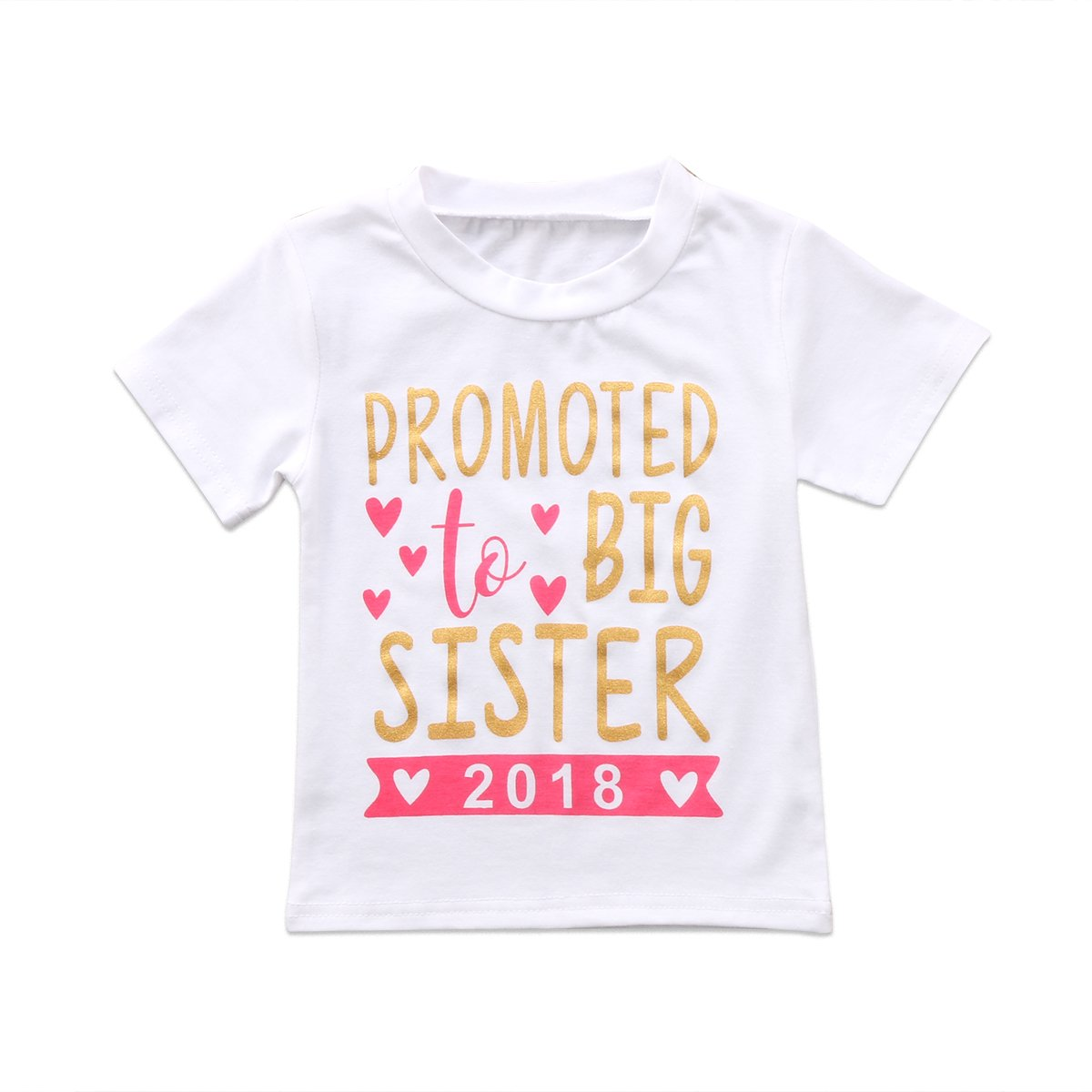 2018 Baby Girl Clothes Outfit Big Sister Letter Print T-shirt Top Blouse Shirts (White, 3-4 Years)