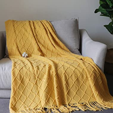 MEIQB Soft Throw Blanket Warm & Knitted Blankets with Decorative Fringe Lightweight for Bed or Sofa Decorative (Yellow, 50  x 90 )
