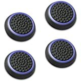 Fosmon A1669 Silicone Thumb Stick Grip Caps (2 Pair) for PS4, PS3, Wii U, and Xbox 360 - Black/Blue