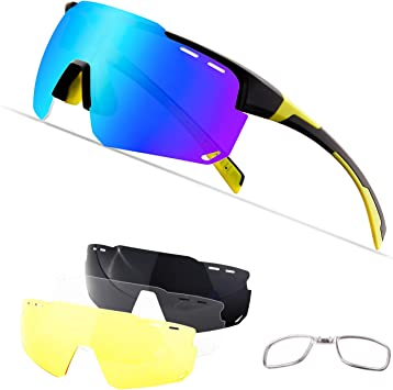 OULIQI Gafas De Sol Polarizadas para,Gafas Ciclismo,Ciclismo con 4 Lentes Intercambiables UV400 Y Montura De TR-90, Gafas para MTB Bicicleta Montaña 100% De Protección UV (Negro y Amarillo): Amazon.es: Deportes y aire