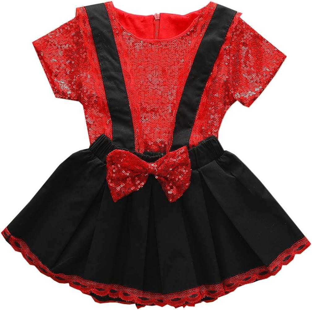 Tianhaik - Traje de lentejuelas para niña, camiseta de manga corta roja + falda de tirantes + diadema para fiesta: Amazon.es: Ropa y accesorios