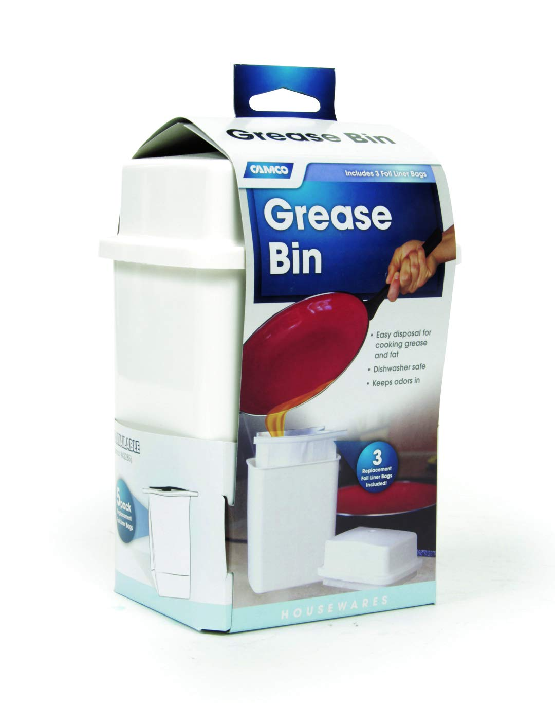 Camco Storage Easily Contain and Dispose Used Cooking Grease, Foil Lined Bags Seal in Odor, Prevent Drain Clogs (42281)