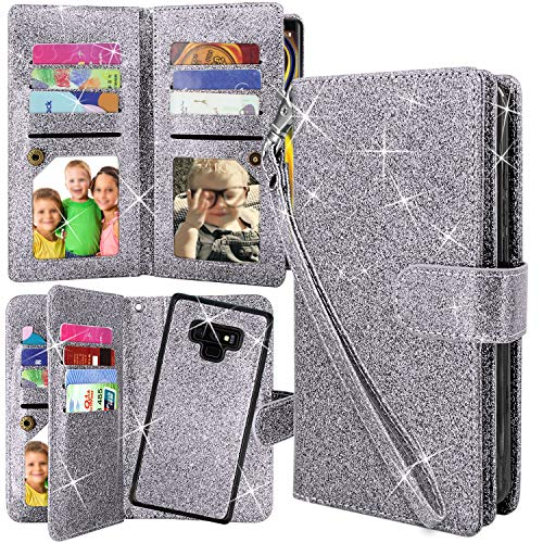 Galaxy Note 9 Case, Harryshell Detachable Magnetic 12 Card Slots Wallet Case Shockproof PU Leather Flip Protective Cover Wrist Strap for Samsung Galaxy Note 9 (Glitter Grey)
