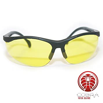COBRA Tactical Airsoft Gafas de seguridad - Marco negro - Gafas amarillas - Patas ajustables  