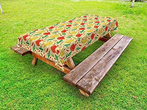 - Ambesonne Spanish Outdoor Tablecloth, Dancing Mexican Women Cactus and Chili Peppers Jalapeno Latin Motif, Decorative Washable Picnic Table Cloth, 58 X 120 Inches, Green Vermilion Yellow