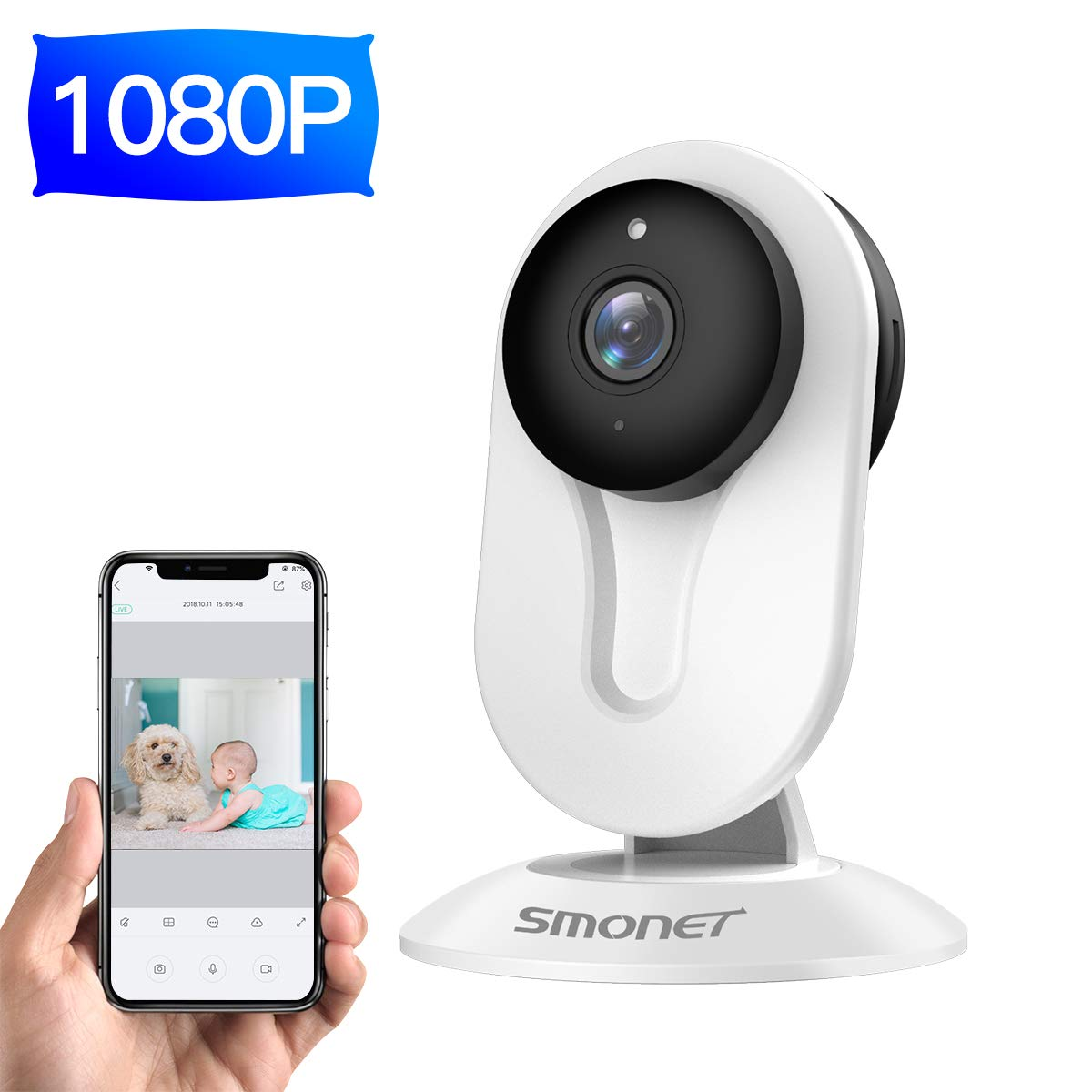 1080P WiFi Home Camera,SMONET Wireless IP Camera with Night Vision,Two Way Audio,Motion Detection,Indoor Security Camera with Free APP Remote View for Older Baby Nanny Pet,Support Cloud Service