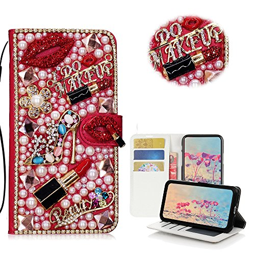 STENES iPhone 8 Plus Case - STYLISH - 3D Handmade Bling Crystal Girls Lipstick High Heel Flowers Desgin Wallet Credit Card Slots Fold Media Stand Leather Case for iPhone 7 Plus / iPhone 8 Plus - Red