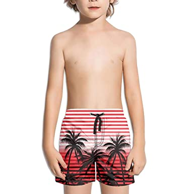447fdd6af0 Rkouquhuaqi Boys' Quick Dry Swim Trunks Palm Tree Red Beach Board Shorts  with Mesh Lining
