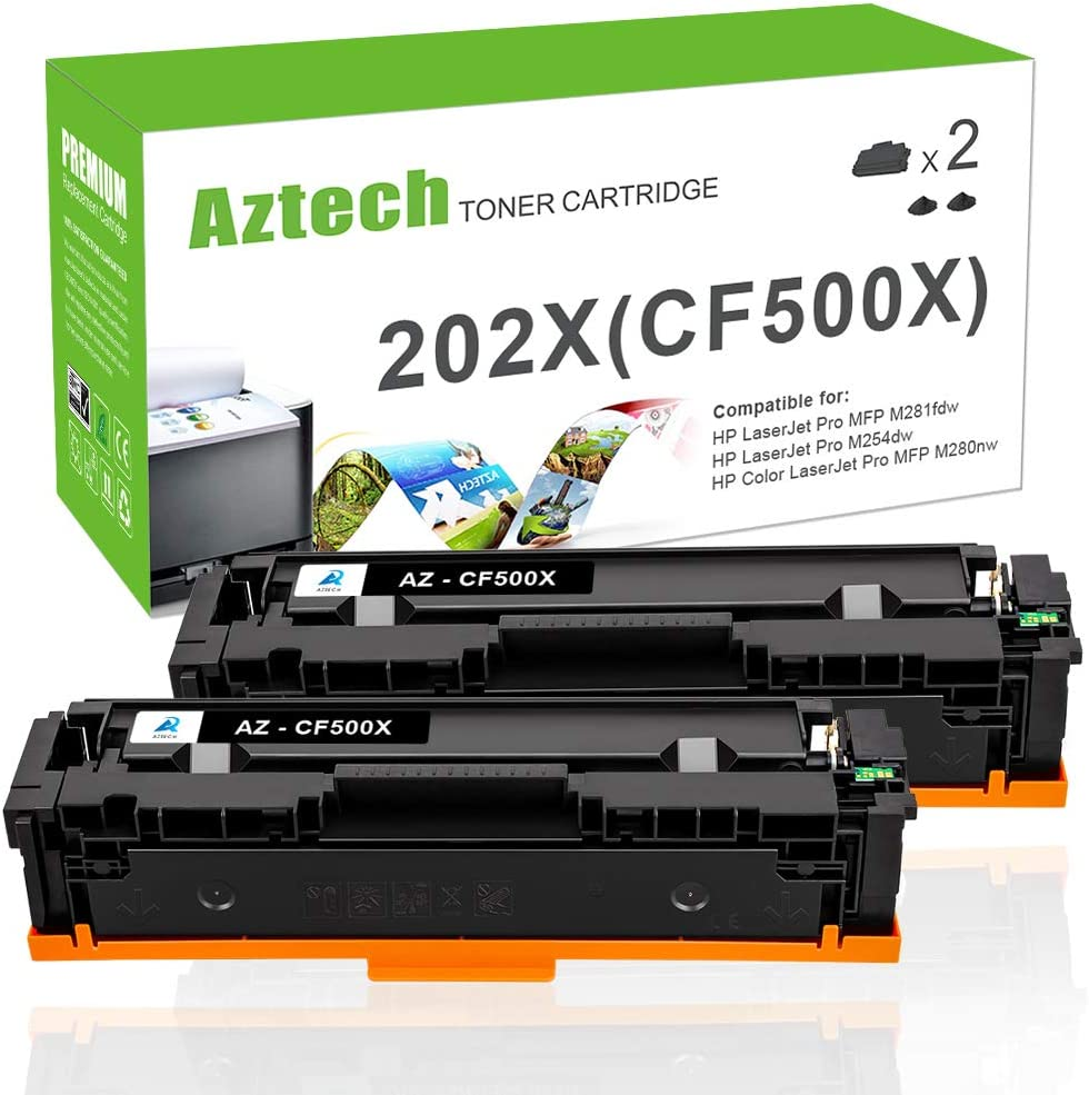 Aztech Compatible Toner Cartridge Replacement for HP 202A CF500A 202X CF500X (Black, 2-Packs)