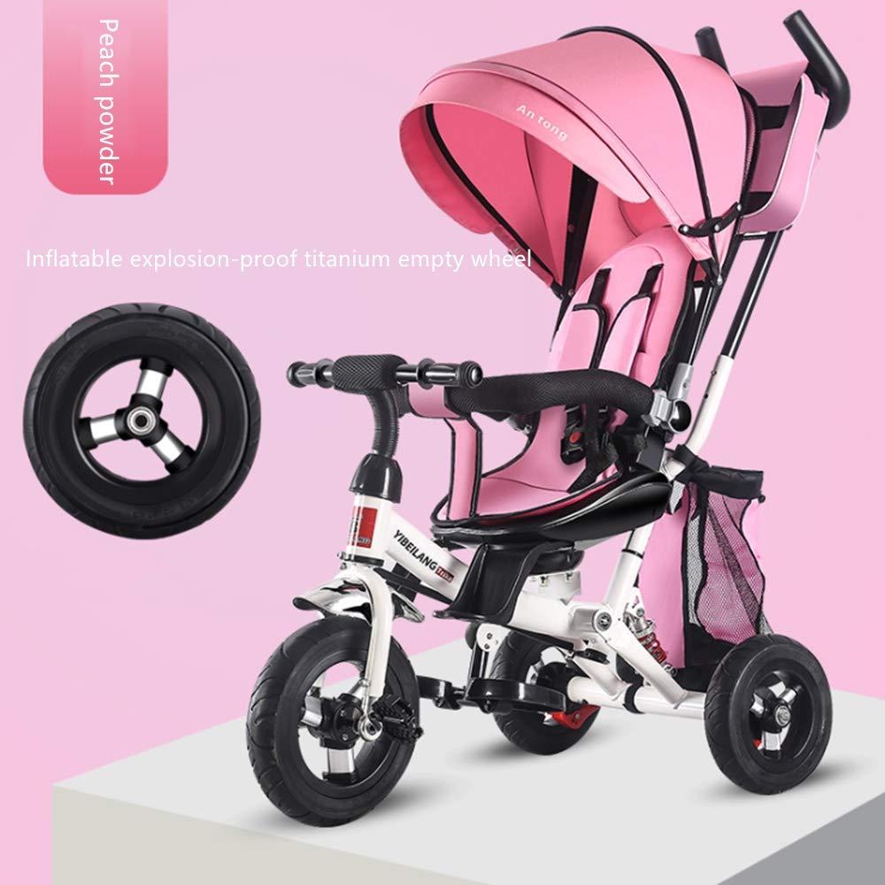 LIUXIQUAN Kinderauto dreirädriges Fahrradbabyhandstoßdrehendes Sitzdämpfer-Kinderfahrrad,Rosa